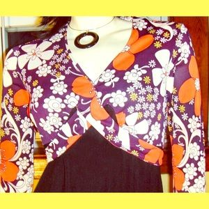 Vintage 60s MOD Flower Power Babydoll Mini Dress